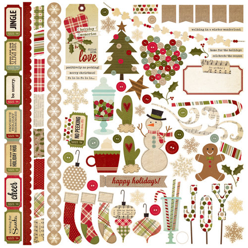 Simple Stories - Handmade Holiday Collection - Christmas - 12 x 12 Cardstock Stickers - Fundamentals