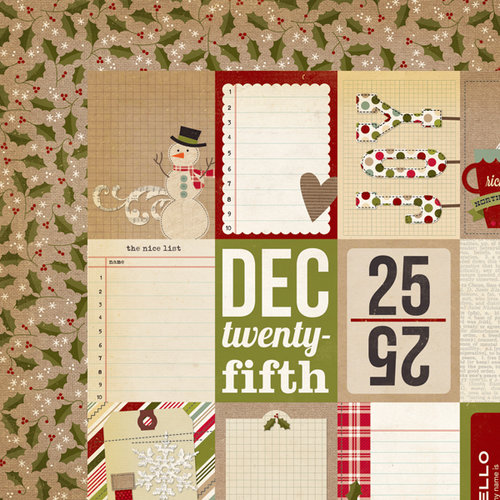 Simple Stories - Handmade Holiday Collection - Christmas - 12 x 12 Double Sided Paper - Flash Cards