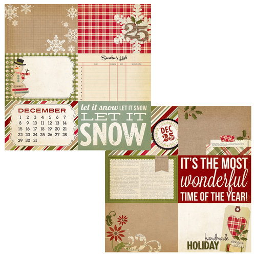 Simple Stories - Handmade Holiday Collection - Christmas - 12 x 12 Double Sided Paper - Journaling Card Elements 2