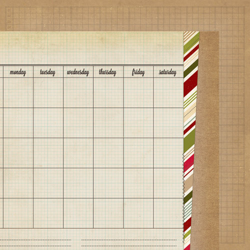 Simple Stories - Handmade Holiday Collection - Christmas - 12 x 12 Double Sided Paper - Calendar