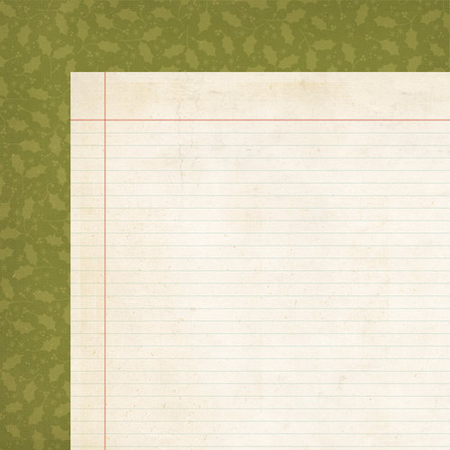 Simple Stories - Handmade Holiday Collection - Christmas - 12 x 12 Double Sided Paper - Green Holly