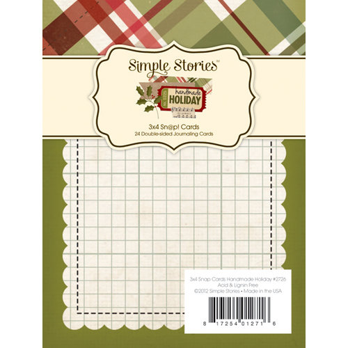 Simple Stories - SNAP Collection - Christmas - 3 x 4 Double Sided Journaling Cards - Handmade Holiday