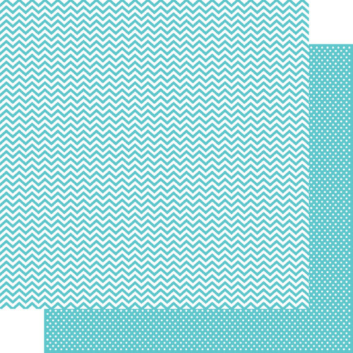 Simple Stories - SNAP Color Vibe Collection - 12 x 12 Double Sided Paper - Teal Chevron