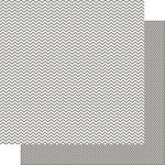 Simple Stories - SNAP Color Vibe Collection - 12 x 12 Double Sided Paper - Grey Chevron