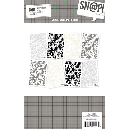 Simple Stories - SNAP Basics Collection - Cardstock Stickers - 4 x 6 - Basics
