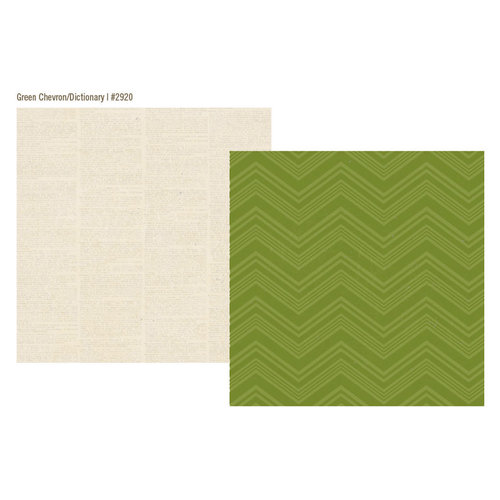Simple Stories - Urban Traveler Collection - 12 x 12 Double Sided Paper - Green Chevron
