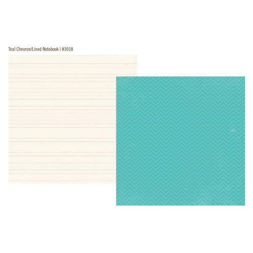 Simple Stories - Vintage Bliss Collection - 12 x 12 Double Sided Paper - Teal Chevron