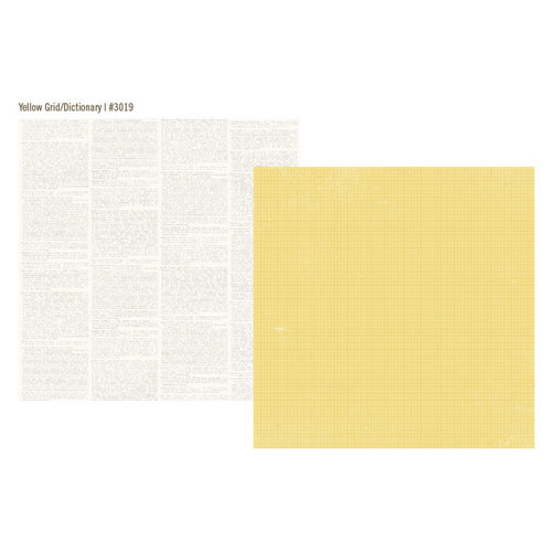 Simple Stories - Vintage Bliss Collection - 12 x 12 Double Sided Paper - Yellow Grid