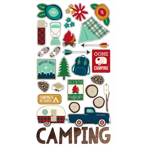 Simple Stories - Cabin Fever Collection - Chipboard Stickers