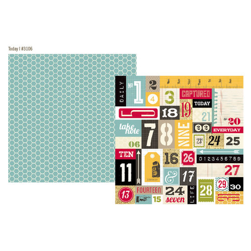 Simple Stories - 24 Seven Collection - 12 x 12 Double Sided Paper - Today