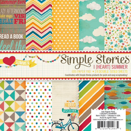 Simple Stories - I Heart Summer Collection - 6 x 6 Paper Pad