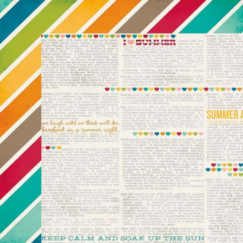 Simple Stories - I Heart Summer Collection - 12 x 12 Double Sided Paper - Daydream
