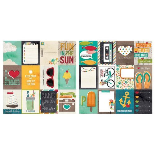 Simple Stories - I Heart Summer Collection - 12 x 12 Double Sided Paper - 3 x 4 Journaling Card Elements