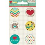 Simple Stories - I Heart Summer Collection - Flair - 6 Adhesive Badges - Icons
