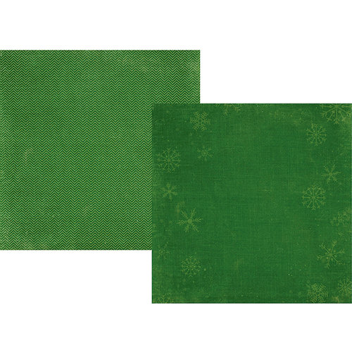 Simple Stories - December Documented Collection - Christmas - 12 x 12 Double Sided Paper - Green Snowflake