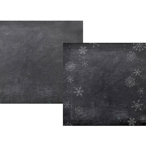 Simple Stories - December Documented Collection - Christmas - 12 x 12 Double Sided Paper - Chalkboard Snowflake