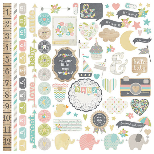 Simple Stories - Hello Baby Collection - 12 x 12 Cardstock Stickers - Fundamentals