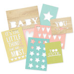 Simple Stories - SNAP Collection - 3 x 4 and 4 x 6 Die Cut Cards - Hello Baby