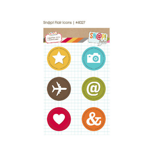 Simple Stories - SNAP Studio Collection - Flair - 6 Adhesive Badges - Icon