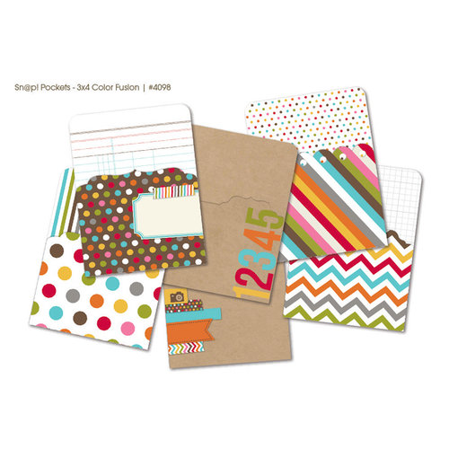 Simple Stories - SNAP Studio Collection - 3 x 4 Memorabilia Pockets - Color Fusion