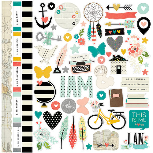 Simple Stories - I AM Collection - 12 x 12 Cardstock Stickers - Fundamentals