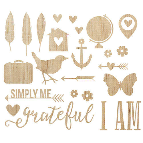 Simple Stories - I AM Collection - Wood Veneer Pieces