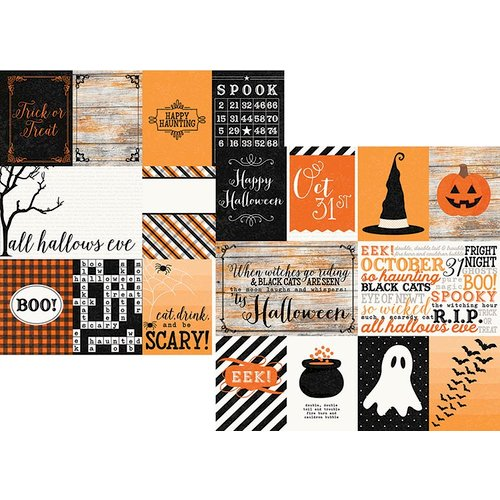 Simple Stories - Happy Haunting Collection - Halloween - 12 x 12 Double Sided Paper - 3 x 4 and 4 x 6 Journaling Card Elements