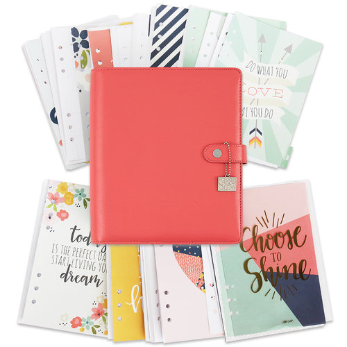 Simple Stories - Carpe Diem Collection - Posh - A5 Planner - Boxed Set - Coral - Undated