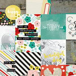Simple Stories - Life In Color Collection - 12 x 12 Double Sided Paper - 4 x 4 and 4 x 6 Vertical Journaling Elements