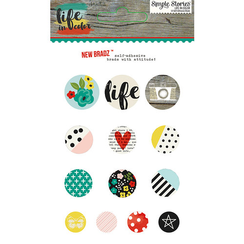 Simple Stories - Life In Color Collection - Decorative Brads