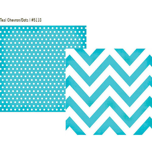 Simple Stories - DIY Collection - 12 x 12 Double Sided Paper - Teal Chevron