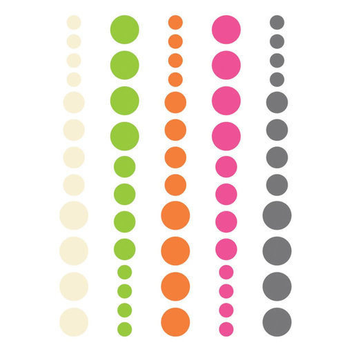 Simple Stories - DIY Collection - Enamel Dots - Pink, Green and Orange