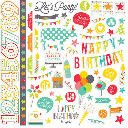 Simple Stories - Let's Party Collection - 12 x 12 Cardstock Stickers - Fundamentals