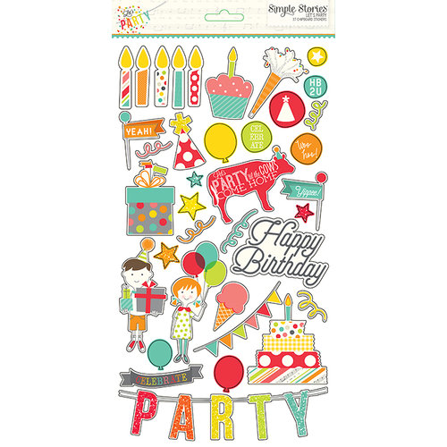 Simple Stories - Let's Party Collection - Chipboard Stickers