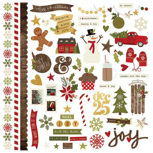 Simple Stories - Cozy Christmas Collection - 12 x 12 Cardstock Stickers - Fundamentals