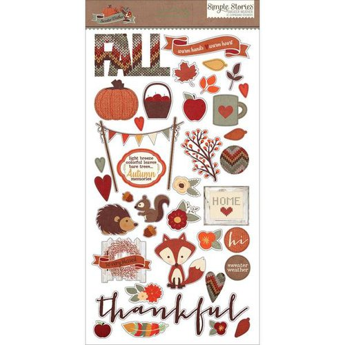 Simple Stories - Sweater Weather Collection - Chipboard Stickers
