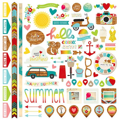 Simple Stories - Good Day Sunshine Collection - 12 x 12 Cardstock Stickers - Fundamentals