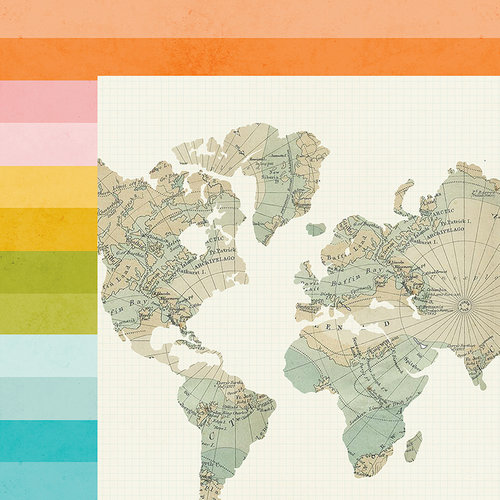 Simple Stories - You Are Here Collection - 12 x 12 Double Sided Paper - Around the World
