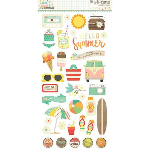 Simple Stories - Summer Vibes Collection - Chipboard Stickers