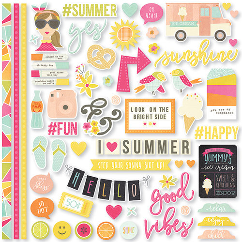 Simple Stories - Sunshine and Happiness Collection - 12 x 12 Cardstock Stickers - Fundamentals