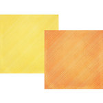 Simple Stories - Sunshine and Happiness Collection - 12 x 12 Double Sided Paper - Tangerine Stripe