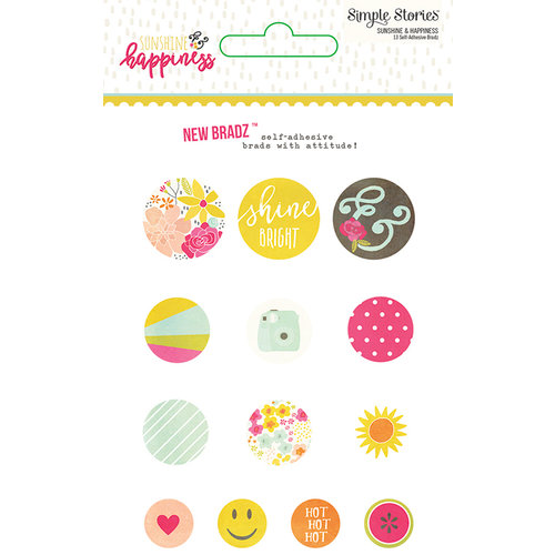 Simple Stories - Sunshine and Happiness Collection - Decorative Brads