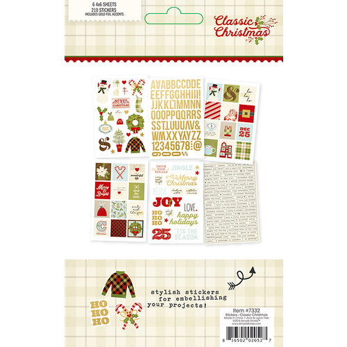 Simple Stories - Classic Christmas Collection - Cardstock Stickers with Foil Accents
