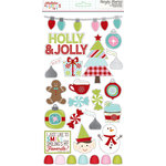 Simple Stories - Mistletoe Kisses Collection - Christmas - Chipboard Stickers with Foil Accents