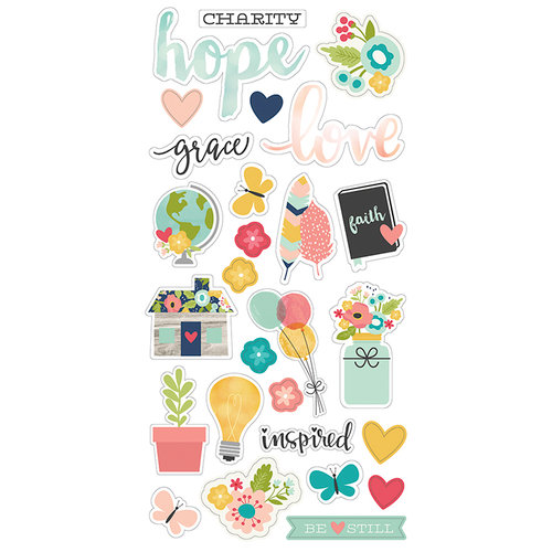 Simple Stories - Faith Collection - Chipboard Stickers