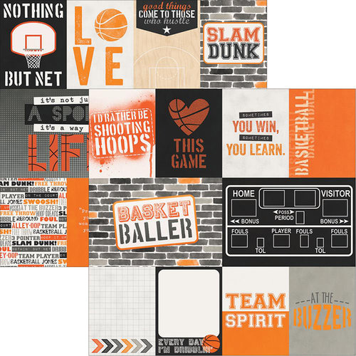 Simple Stories - Basketball Collection - 12 x 12 Double Sided Paper - 3 x 4 and 4 x 6 Journaling Card Elements