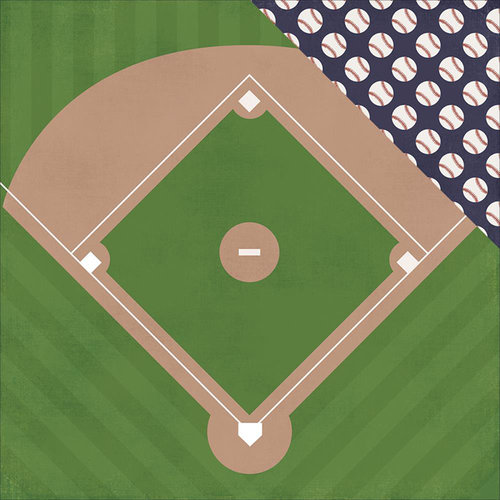 Simple Stories - Baseball Collection - 12 x 12 Double Sided Paper - Out of the Park