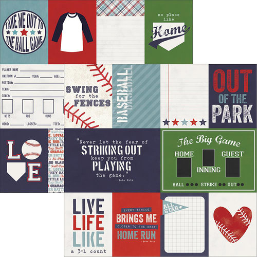 Simple Stories - Baseball Collection - 12 x 12 Double Sided Paper - 3 x 4 and 4 x 6 Journaling Card Elements
