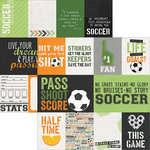 Simple Stories - Soccer Collection - 12 x 12 Double Sided Paper - 3 x 4 and 4 x 6 Journaling Card Elements