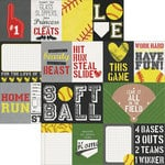 Simple Stories - Softball Collection - 12 x 12 Double Sided Paper - 3 x 4 and 4 x 6 Journaling Card Elements